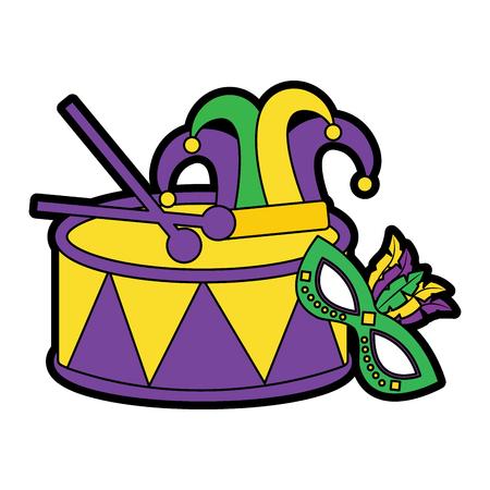 trommel met masker hoed mardi gras carnaval pictogram afbeelding vector illustratie ontwerp