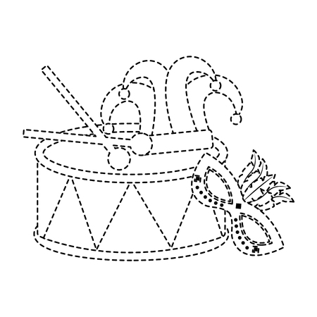 drum mask hat carnival accessory icon image vector illustration design black dotted line