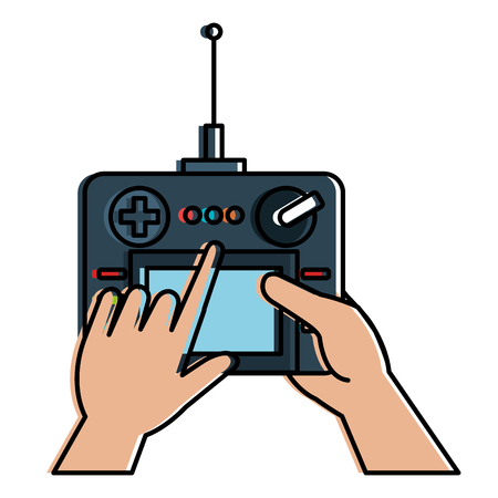 User hand with drone remote control vector illustration design Ilustração