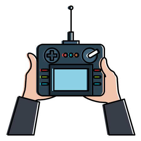 User hand with drone remote control vector illustration design 向量圖像