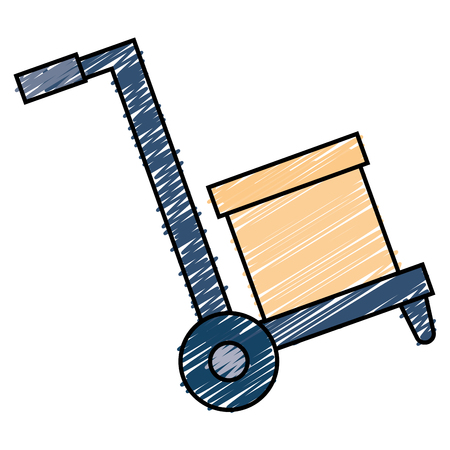 Carton box in handle cart vector illustration design
