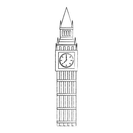 ビッグベンロンドン英国アイコン画像ベクトルイラストデザイン黒スケッチライン  イラスト・ベクター素材