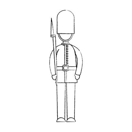 ガードロンドン英国アイコン画像ベクトルイラストデザイン黒スケッチライン