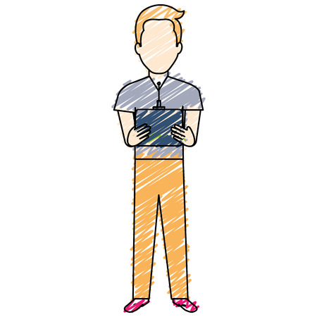 Man with drone remote control vector illustration design  イラスト・ベクター素材
