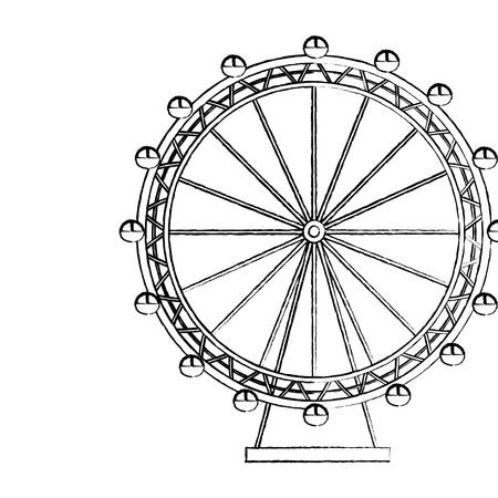 Ferris wheel icon image vector illustration design black sketch line