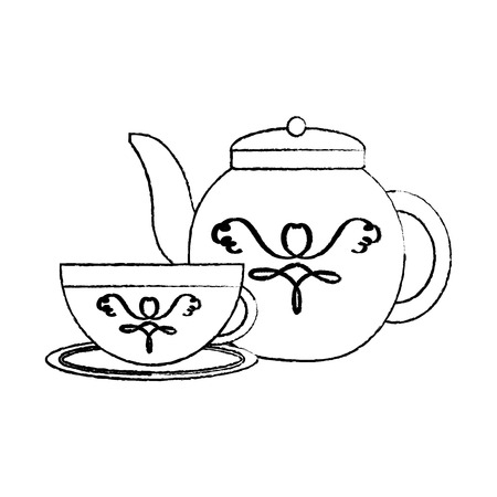 Tea cup and kettle icon image vector illustration design black sketch line Çizim