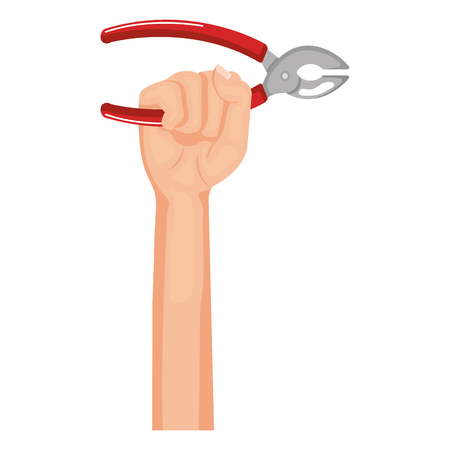 hand with pliers tool isolated icon vector illustration design Ilustração