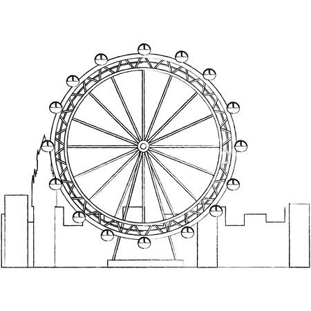 reuzenrad pictogram afbeelding vector illustratie ontwerp zwarte schets lijn Stock Illustratie