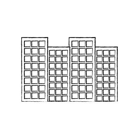 建物都市スカイラインアイコン画像ベクトルイラストデザイン黒スケッチライン