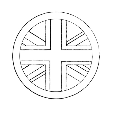 フラッグエンブレム 英国 アイコン 画像 ベクトル イラストデザイン 黒スケッチライン