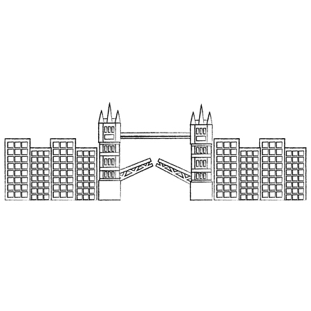 브리지 영국 런던 아이콘 아이콘 벡터 일러스트 레이션 디자인 검은 스케치 라인