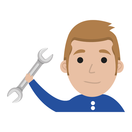 man with wrench tool isolated icon vector illustration design Иллюстрация