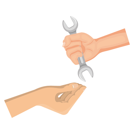 hands with wrench tool isolated icon vector illustration design