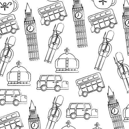 ガードビッグベンダブルデッカーバスクラウンロンドン英国パターン画像ベクトルイラストデザイン黒スケッチライン