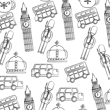 guard big ben double decker bus crown london united kingdom pattern image vector illustrationd design  black sketch line