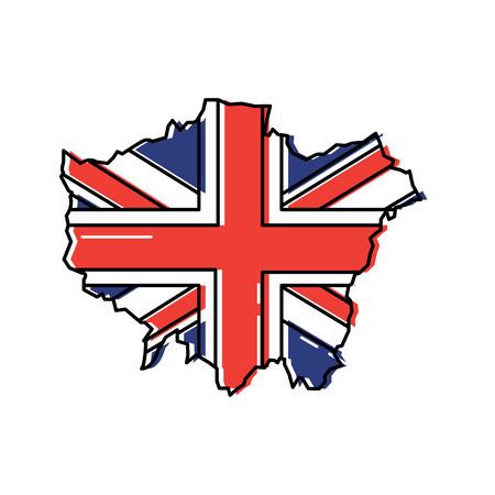 플래그 및 영국지도 아이콘 이미지 벡터 일러스트 디자인