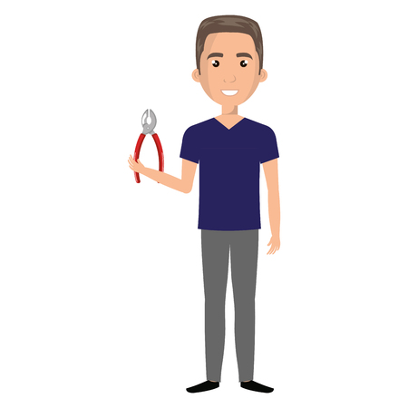 Man with pliers tool isolated icon vector illustration design Фото со стока - 92102754