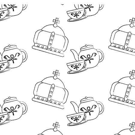 왕관과 차 세트 영국 아이콘 이미지 벡터 일러스트 디자인 검은 스케치 라인