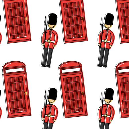 Wacht en telefooncelontwerp van het het patroonbeeld vector illustrationd Londen van Londen het Verenigd Koninkrijk