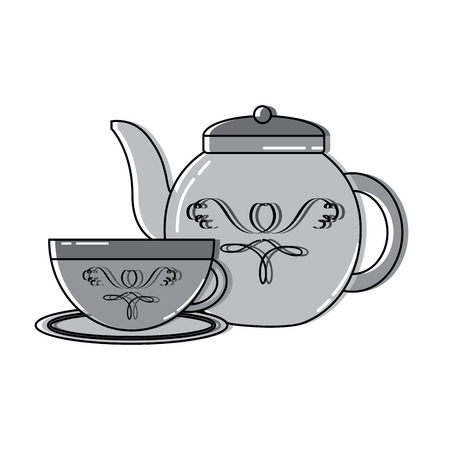 Tea cup and kettle icon image vector illustration design