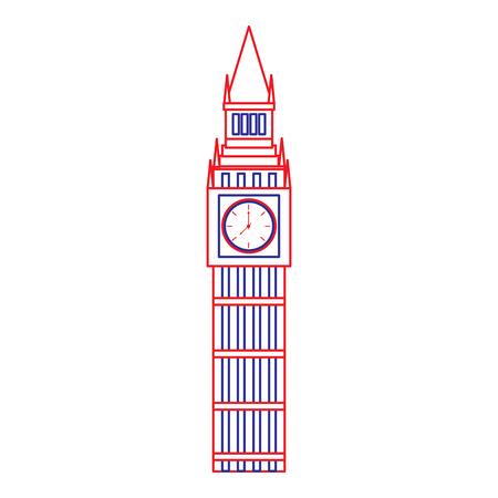 ビッグベンロンドン英国アイコン画像ベクトルイラストデザイン青い赤い線