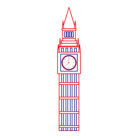 big ben london united kingdom icon image vector illustrationd design  blue red line