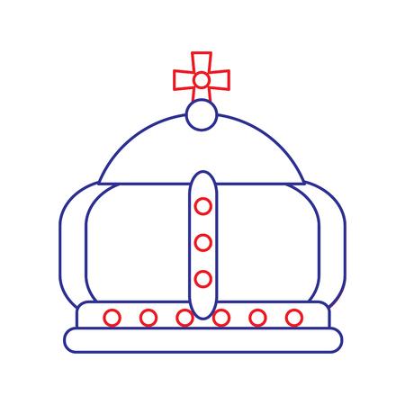 Corona real con el icono de la cruz ilustración vectorial línea de diseño rojo azul Foto de archivo - 92102909