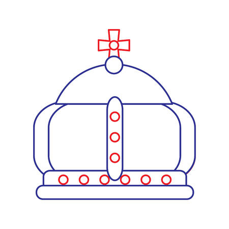 Royal crown with cross icon image vector illustration design blue red line Ilustrace