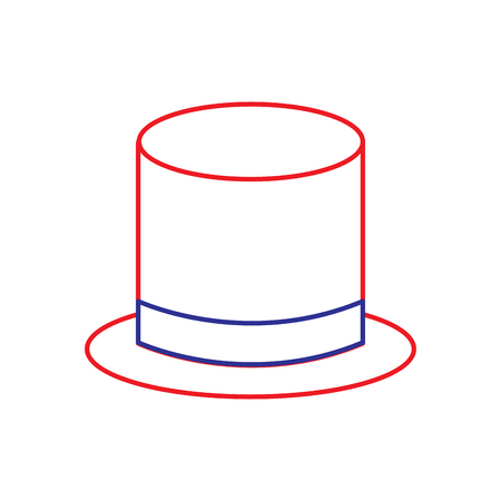 top hat icon image vector illustration design  blue red line
