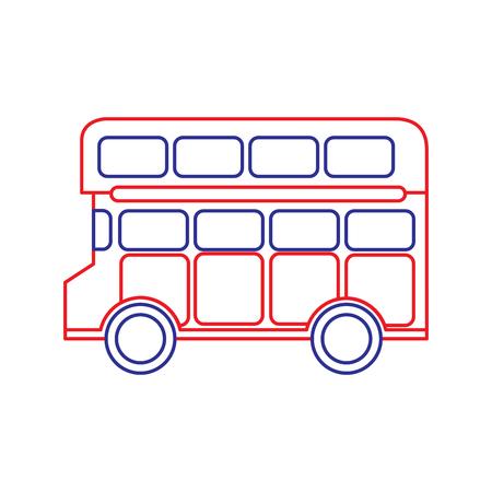 Bus double deck icon image vector illustration design blue red line