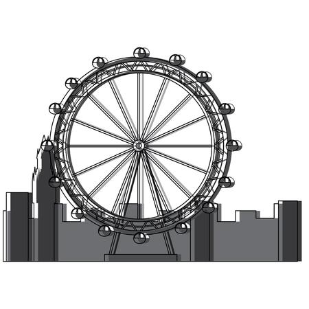 Ontwerp van de het beeld het vectorillustratie van het reuzenradpictogram Stock Illustratie