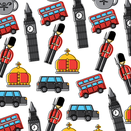 Guard big ben double decker bus crown london united kingdom pattern image vector illustrationd design