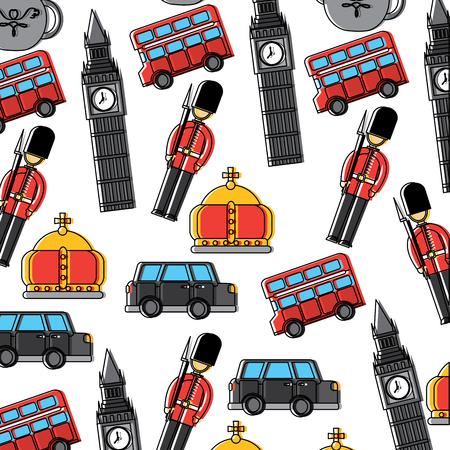 Wacht big ben dubbele decker bus kroon Londen Verenigd Koninkrijk patroon afbeelding vector illustrationd ontwerp Stock Illustratie