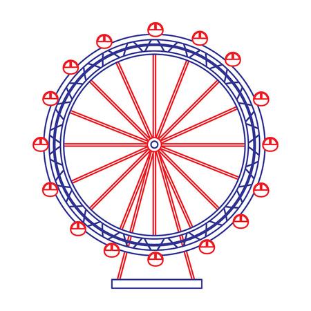 reuzenrad pictogram afbeelding vector illustratie ontwerp blauwe rode lijn
