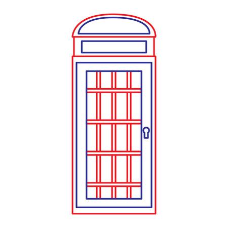 telefooncel pictogram afbeelding vector illustratie ontwerp blauwe rode lijn