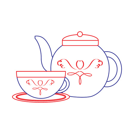 tea cup and kettle icon image vector illustration design  blue red line Çizim
