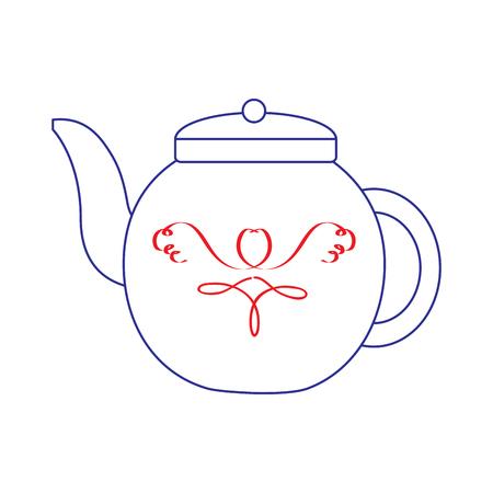 tea kettle icon image vector illustration design  blue red line Çizim