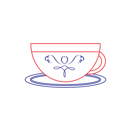 cup or mug icon image vector illustration design  blue red line Stock Vector - 92102930