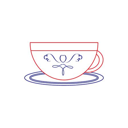 cup or mug icon image vector illustration design  blue red line