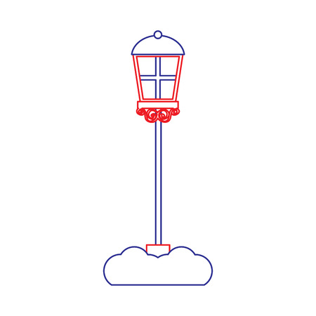 street lamp icon image vector illustration design  blue red line