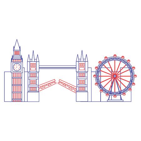 빅 벤 눈 다리 런던 영국 아이콘 이미지 벡터 일러스트 디자인 블루 레드 라인