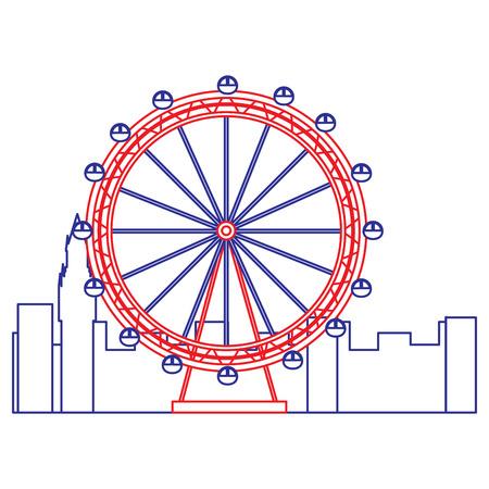 ferris wheel icon image vector illustration design  blue red line Ilustração