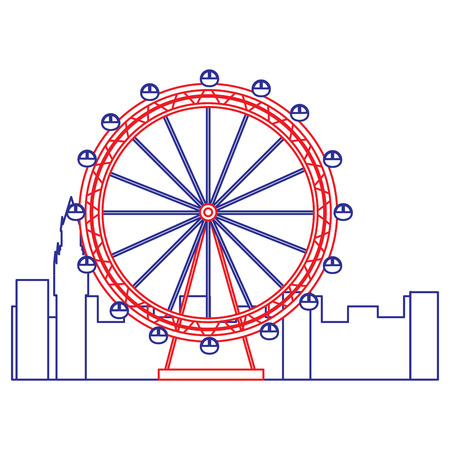 ferris wheel icon image vector illustration design  blue red line Illustration