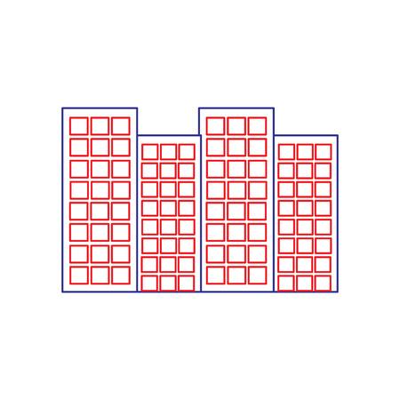建物都市スカイラインアイコン画像ベクトルイラストデザイン青い赤い線