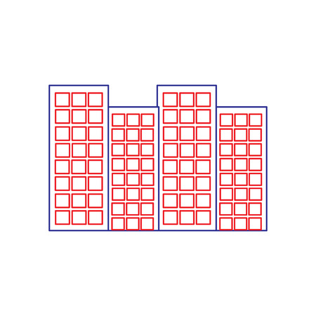 buildings city skyline icon image vector illustration design  blue red line