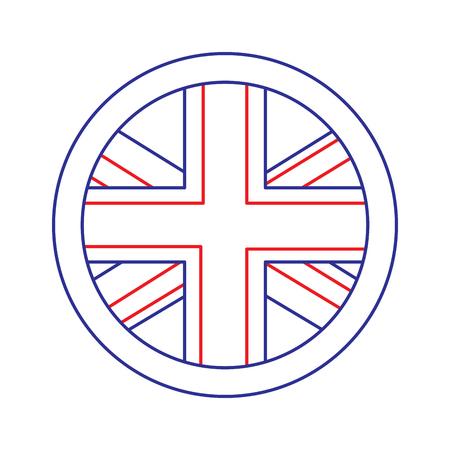 플래그 엠 블 럼 영국 아이콘 이미지 벡터 illustrationd 디자인 블루 레드 라인