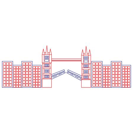 브리지 영국 런던 아이콘 이미지 벡터 일러스트 레이 션 디자인 블루 레드 라인 일러스트