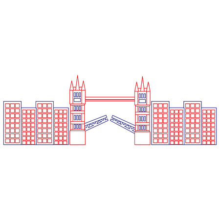 bridge london united kingdom icon image vector illustrationd design  blue red line Иллюстрация