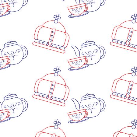 王冠と紅茶セット イギリス アイコン アイコン 画像 ベクトル イラストデザイン 青い赤い線