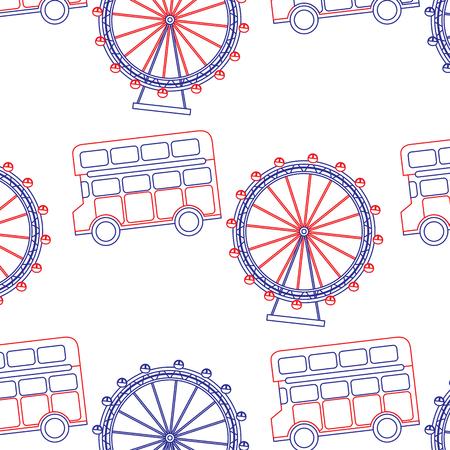 dubbeldekker bus en oog londen verenigd koninkrijk patroon afbeelding vector illustrationd ontwerp blauw rode lijn